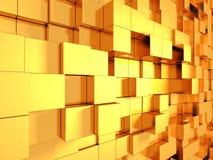 Fondo futuristico dell'estratto dorato dei cubi Immagine Stock