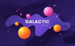 Fondo futuristico dello spazio cosmico della galassia del fumetto, progettazione, artwor illustrazione vettoriale
