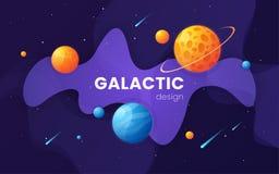 Fondo futuristico dello spazio cosmico della galassia del fumetto, progettazione, artwor illustrazione di stock