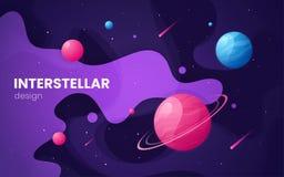 Fondo futuristico dello spazio cosmico della galassia del fumetto, progettazione, artwor royalty illustrazione gratis