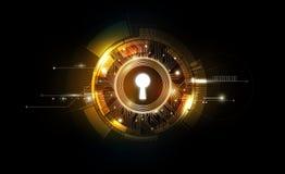 Fondo futuristico di tecnologia dell'estratto del buco della serratura di incandescenza con leggero e brillante, chiave della sol illustrazione vettoriale