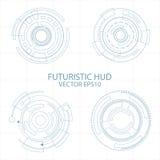 Fondo futuristico di tecnologia digitale degli elementi del cerchio astratto, progettazione futuristica del fondo di concetto deg illustrazione di stock