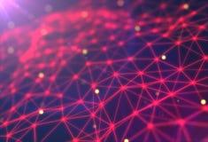 Fondo futuristico di tecnologia Fantasia futuristica del triangolo del plesso rappresentazione 3d Fotografia Stock Libera da Diritti