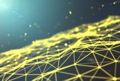 Fondo futuristico di tecnologia Fantasia futuristica del triangolo del plesso rappresentazione 3d Immagine Stock Libera da Diritti