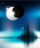 Fondo futuristico di vettore con la città e l'eclissi Fotografie Stock Libere da Diritti