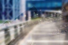Fondo futuristico urbano di architettura della città moderna astratta di affari Concetto del bene immobile, mosso, riflessione de Fotografie Stock