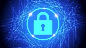 Fondo futuro azul de la seguridad de la tecnología Fotografía de archivo libre de regalías