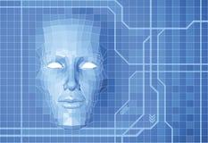 Fondo futuro del concepto de la cara ilustración del vector