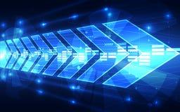 Fondo futuro di tecnologia di velocità di vettore astratto, illustrazione Fotografia Stock