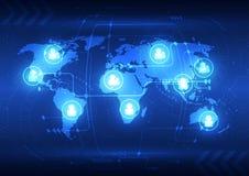Fondo futuro globale astratto di tecnologia, illustrazione di vettore royalty illustrazione gratis