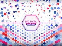 Fondo geométrico abstracto con código binario y hexágonos Visualización grande de los datos Fotografía de archivo