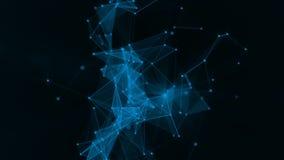 Fondo geométrico abstracto con el plexo Letrero azul de neón Elemento de HUD stock de ilustración