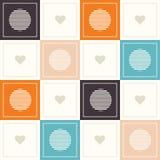 Fondo geométrico abstracto del modelo con los cuadrados coloridos, los corazones delicados y los círculos Fotografía de archivo libre de regalías