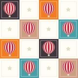 Fondo geométrico abstracto del modelo con los cuadrados coloridos, los globos delicados del aire caliente y las estrellas Fotografía de archivo libre de regalías