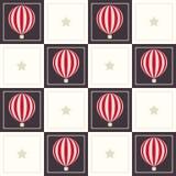 Fondo geométrico abstracto del modelo con los globos soñadores y las estrellas del aire caliente Fotos de archivo libres de regalías