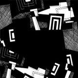 Fondo geométrico abstracto, dibujo monocromático de la tinta Imagenes de archivo