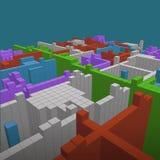 Fondo geométrico abstracto - ejemplo 3d Wireframe perspectiva Imágenes de archivo libres de regalías