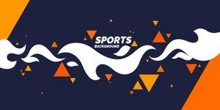 Fondo geométrico abstracto retro El cartel de los deportes con las figuras planas ilustración del vector