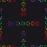 Fondo geométrico abstracto, siete chakras humanos, seaml Imagenes de archivo