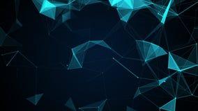 Fondo geométrico azul abstracto animado con las líneas, los triangels y los puntos móviles almacen de metraje de vídeo