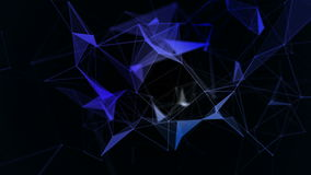 Fondo geométrico azul abstracto con las líneas, los puntos y los triángulos móviles Tecnología del extracto de la fantasía del pl stock de ilustración