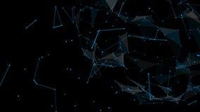 Fondo geométrico azul abstracto con las líneas y los puntos móviles Trayectorias de los nodos y de la conexión de los datos de Di stock de ilustración