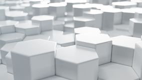 fondo geométrico blanco del extracto del hexágono del ejemplo 3D Modelo superficial del hexágono, panal hexagonal imagen de archivo
