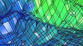 Fondo geométrico colocado estilo polivinílico bajo abstracto animación inconsútil 3d en 4k Colores modernos de la pendiente Azul  stock de ilustración