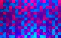 Fondo geométrico colorido abstracto Contexto para el diseño Cuadrados y círculos coloreados Ilustración moderna del vector Imagen de archivo