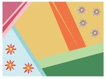 Fondo geométrico colorido con los flores pequeños Foto de archivo libre de regalías