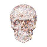 Fondo geométrico con el cráneo colorido Imágenes de archivo libres de regalías