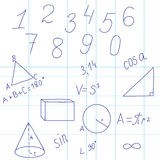 Fondo geométrico con las figuras y las fórmulas Foto de archivo