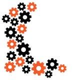 Fondo geom?trico con los engranajes, marco para su texto, anaranjado y negro Vector stock de ilustración
