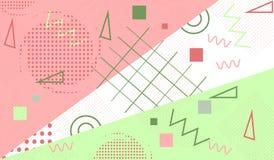 Fondo geométrico de moda, modelo con los elementos de Memphis Diseño abstracto moderno para el cartel, cubierta Fotos de archivo libres de regalías