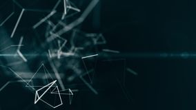 Fondo geométrico del blockchain abstracto con las líneas y los puntos móviles animación de colocación del CG libre illustration