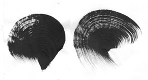 Fondo geométrico del extracto de la pintada Papel pintado con efecto de la acuarela del aceite Textura negra del movimiento de la imagen de archivo