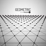 Fondo geométrico del vector de la tecnología Concepto futurista Triángulos conectados con los puntos Imagenes de archivo