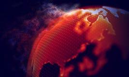 Fondo geométrico rojo abstracto Estructura de la conexión Fondo de la ciencia Tecnología futurista HUD Element Imagen de archivo