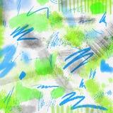 Fondo geométrico salpicado acuarela de la primavera abstracta Fondo de la primavera en colores verdes claros y azules con la mano Fotografía de archivo libre de regalías