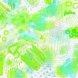 Fondo geométrico salpicado acuarela de la primavera abstracta Fondo de la primavera en colores verdes claros y azules con la mano Foto de archivo