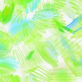 Fondo geométrico salpicado acuarela de la primavera abstracta Fondo de la primavera en colores verdes claros y azules con la mano ilustración del vector