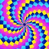 Fondo geometic astratto, modello festivo con differenti forme nella spirale Colori luminosi e vivi di 80s, stile al neon 90s fotografie stock