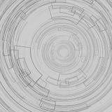 Fondo geometrico astratto con i cerchi scuri dei cerchi concentrici sulle linee geometriche tecnologia di un grafico grigio del f illustrazione vettoriale