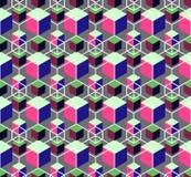 Fondo geometrico astratto con i cubi isometrici Fotografie Stock Libere da Diritti