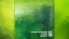 Fondo geometrico astratto dei triangoli nei colori verdi Fotografia Stock