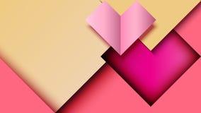 Fondo geometrico astratto del modello dell'insegna del taglio della carta di forma del cuore immagini stock libere da diritti
