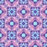 Fondo geometrico astratto - modello senza cuciture di vettore nei colori viola, lilla e blu Stile etnico di boho Ornamento del mo illustrazione di stock