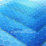 fondo geometrico blu di Ciao-tecnologia Disegno di vettore illustrazione di stock