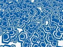 Fondo geometrico con gli elementi casuali di esagono e le bande blu 3d rendono Fotografia Stock