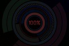 Fondo geometrico con gli elementi del hud e 100 per cento del testo illustrazione 3D Immagine Stock Libera da Diritti